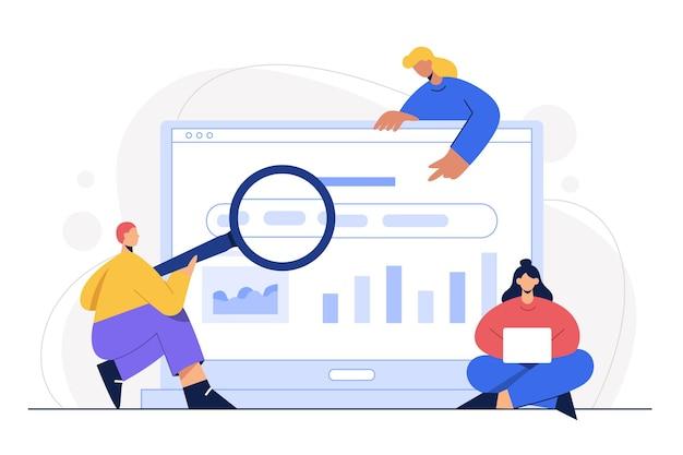 Trabalho escritório computador homem mulher negócios personagem marketing on-line empregado tecnologia homem de negócios desenho animado co trabalhando design plano freelance