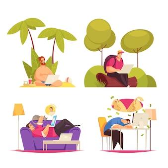 Trabalho flexível remoto freelance 4 composições de conceito dos desenhos animados com a escrita sob a palma da mão, conversando no sofá