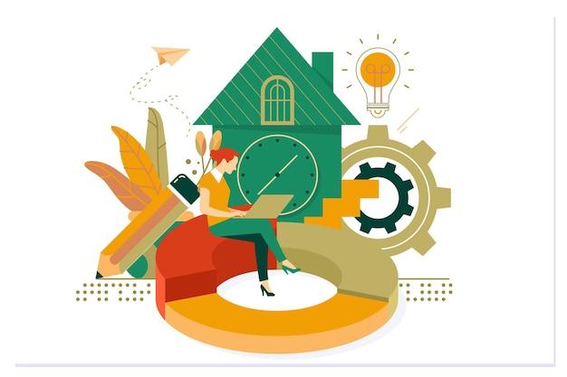 Trabalho freelance em casa online. conceito de trabalho e home office