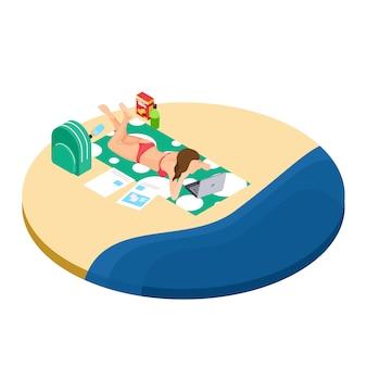 Trabalho freelance no conceito isométrico de praia - garota com laptop, bebidas e documentos trabalha em viagens