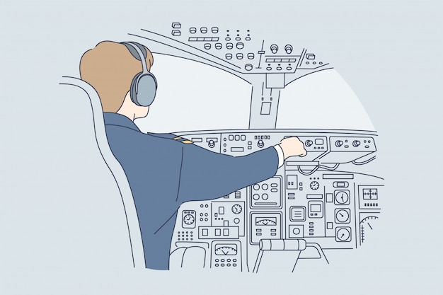 Trabalho, indústria, transporte, conceito de voo