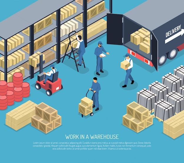 Trabalho na ilustração de casa de mercadorias
