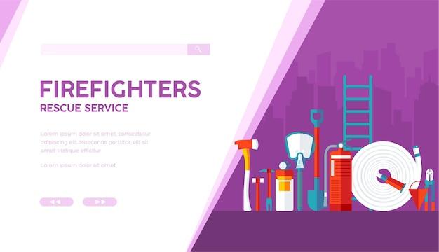 Trabalho, ocupação, profissão perigosa. ilustração de desenho animado de equipamento de bombeiro com espaço de texto