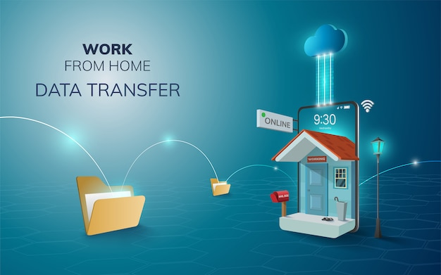 Trabalho on-line digital do backup da nuvem de transferência de dados domésticos no fundo do site móvel de telefone. conceito de distância social. ilustração