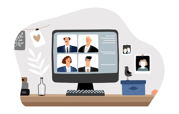 Trabalho online. videoconferência, reunião de negócios em casa. gerentes no monitor do computador, ilustração vetorial de bate-papo à distância