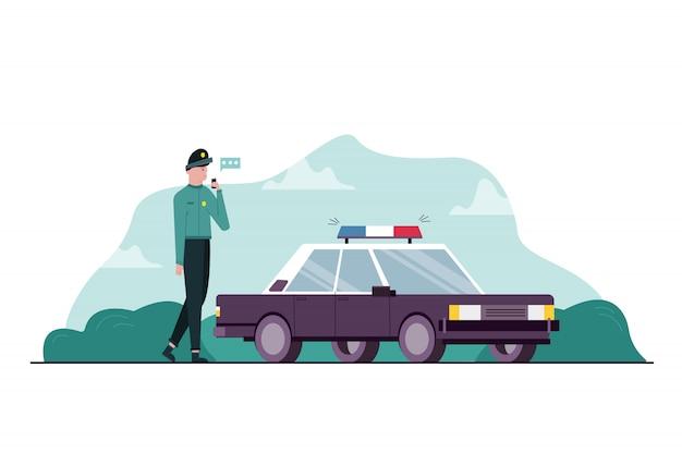 Trabalho, perigo, segurança, conceito de comunicação. polícia de cara jovem profissional sério em pé perto do veículo de transporte de carro falando com o colega no transmissor ou walkie-talkie. ocupação perigosa