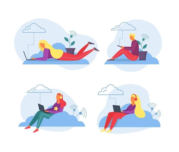 Trabalho portátil com armazenamento em nuvem, ilustração vetorial. personagem de pessoas de mulher plana homem trabalhando por computador, tecnologia online para negócios.