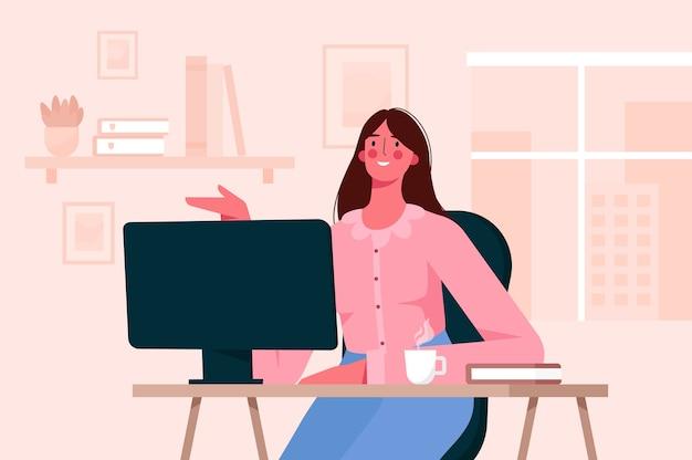 Trabalho remoto, conceito de educação online. mulher que trabalha em casa. escritório em casa. ilustração plana.