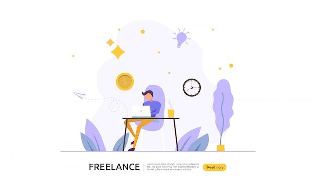 Trabalho remoto conceito freelance