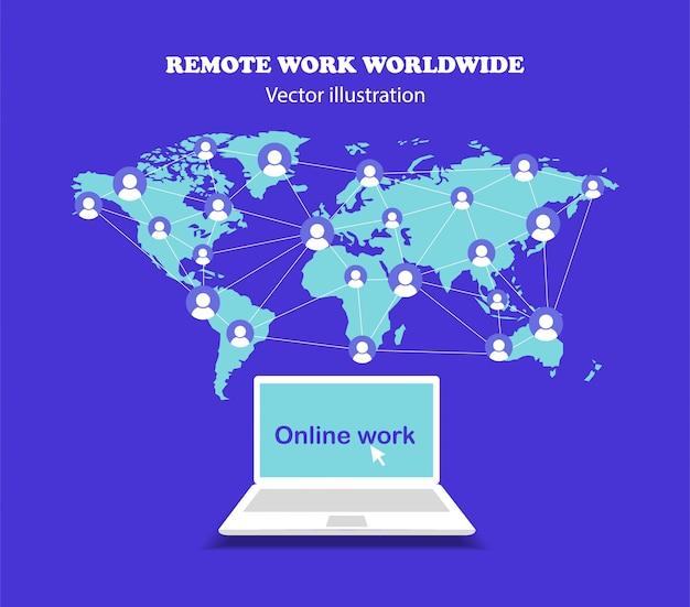 Trabalho remoto em todo o mundo.