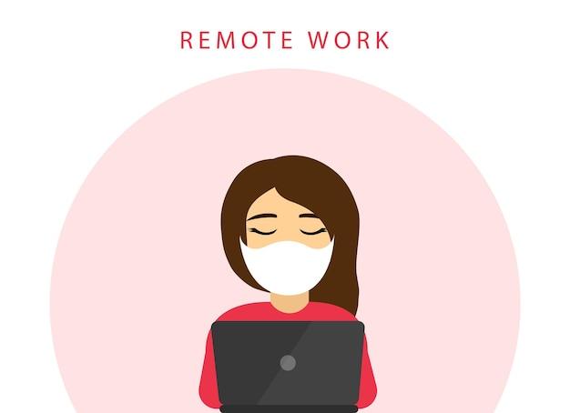 Trabalho remoto. ficar em casa. quarentena. mulher trabalha em um laptop. coronavírus.