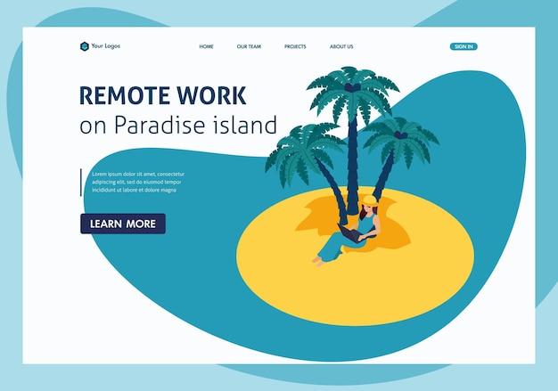 Trabalho remoto isométrico na ilha paradisíaca, garota freelancer. página inicial do modelo de site.