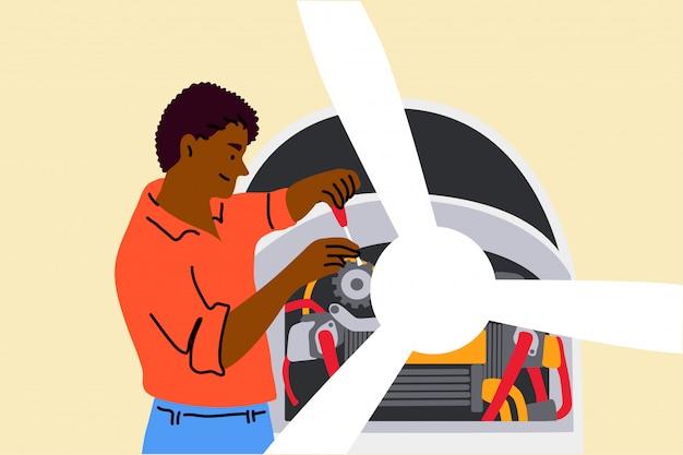 Trabalho, reparação, engenharia, conceito de mecânica