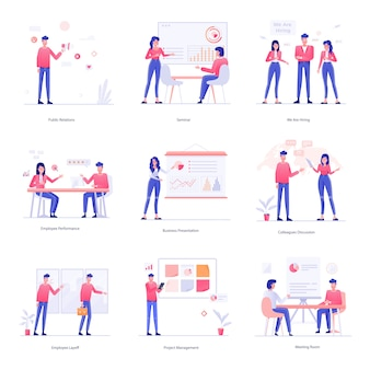 Trabalho, trabalho em equipe e ilustrações de rh