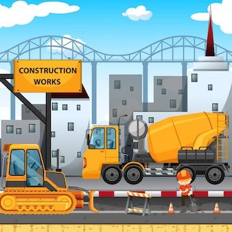 Trabalhos de construção ao longo da rua