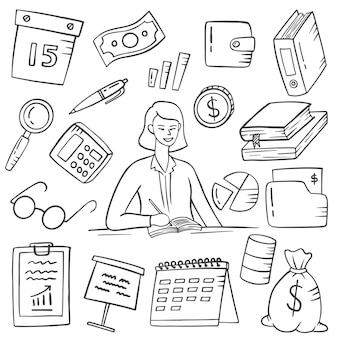 Trabalhos de contador ou profissão doodle desenhado à mão coleções definidas com contorno estilo preto e branco