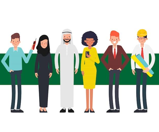 Trabalhos de equipa de povos árabes muçulmanos no lugar do escritório. trabalho corporativo internacional.