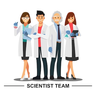 Trabalhos de equipa do cientista, personagem de banda desenhada da ilustração do vetor.