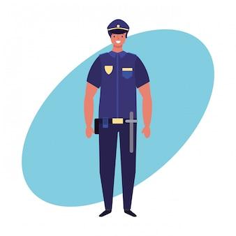 Trabalhos de policial e sorteio de mão de profissão