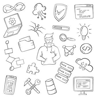 Trabalhos de programador ou profissão doodle desenhado à mão coleções definidas com contorno estilo preto e branco
