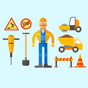 Trabalhos de reparação rodoviária.