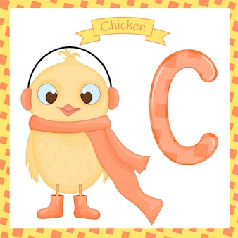 Traçado da letra c do alfabeto do jardim zoológico das crianças bonitos da galinha feliz para as crianças que aprendem o vocabulário inglês.