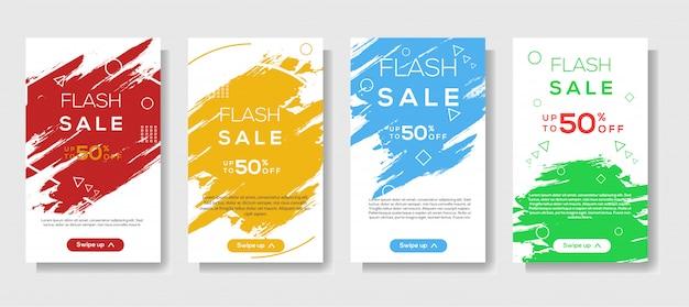 Traçado de pincel moderno móvel para banners de venda em flash. design de modelo de banner de venda