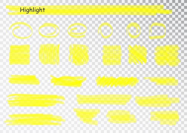 Traçados de marcador de marca-texto amarelo. linhas de sublinhado da caneta pincel. conjunto de destaque amarelo aquarela mão desenhada.