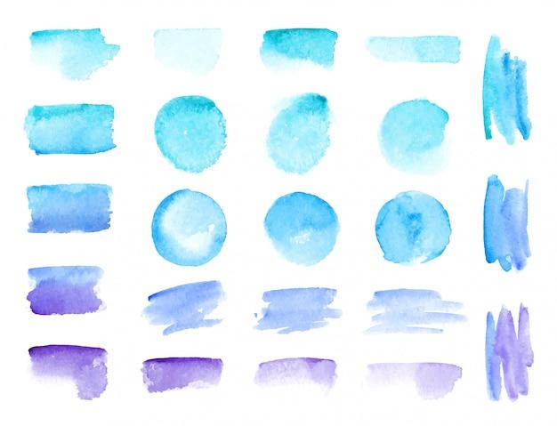 Traçados de pincel aquarela de vetor colorido. manchas de tinta aquarela de cores do arco-íris