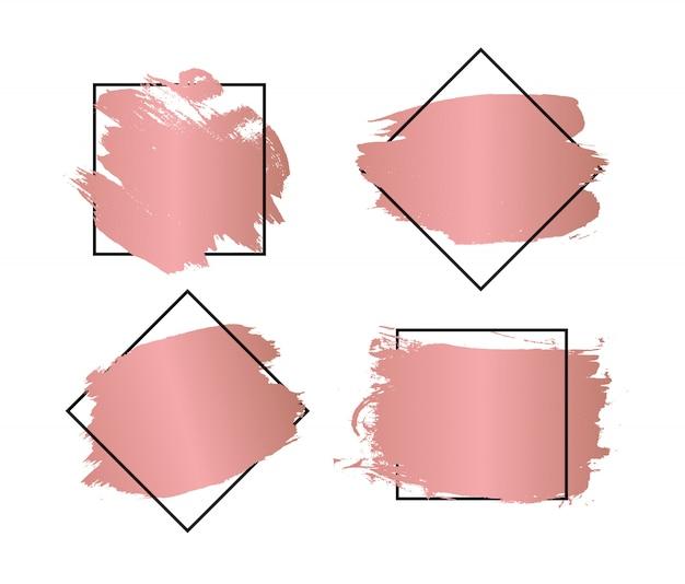 Traçados de pincel artístico sujo com molduras para texto. ilustração