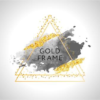 Traçados de pincel cinza, nude, pêssego, dourado e manchas em moldura redonda de ouro sobre fundo branco.