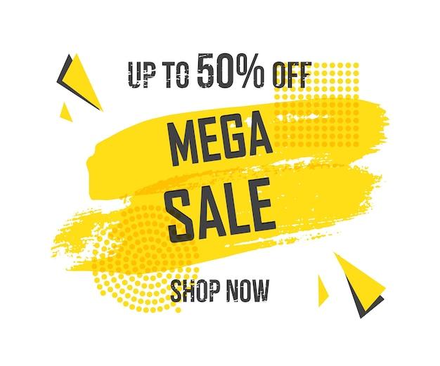 Traçados de pincel de modelo de banner de promoção amarelo com palavras mega sale