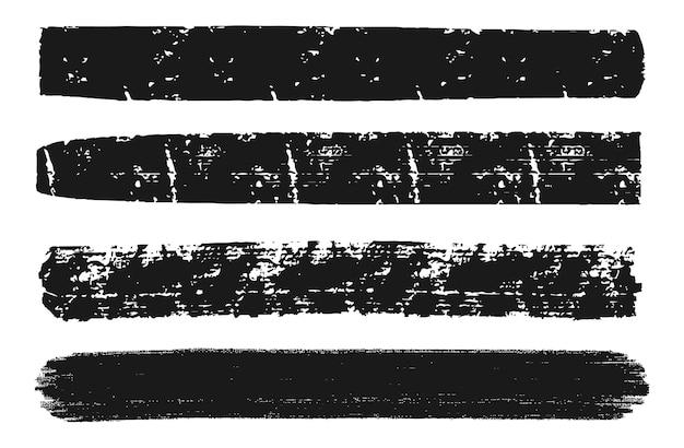 Traçados de pincel de pintura preta abstrata