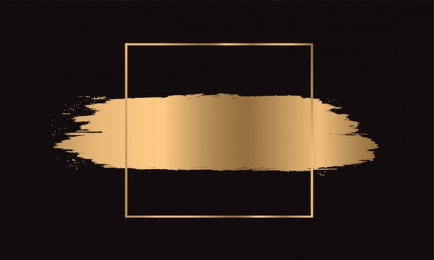 Traçados de pincel de tinta dourada