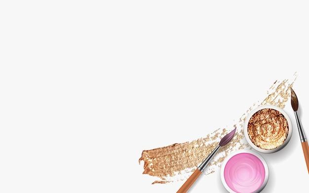 Traçados de pincel dourado, latas com guache, tinta acrílica com pincel de madeira 3d realista.