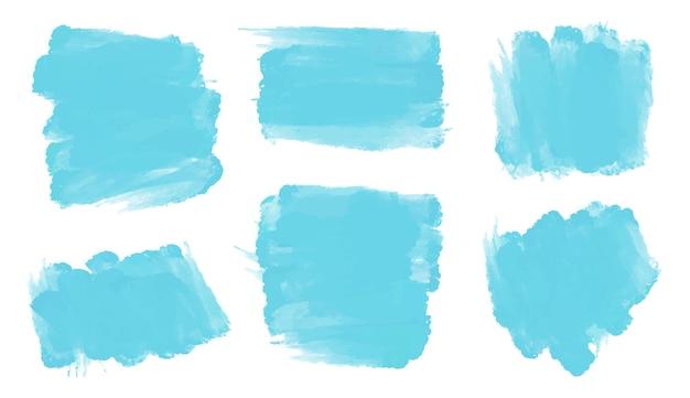 Traçados de pincel em aquarela abstrato azul