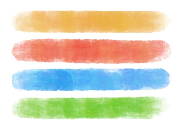 Traçados de pincel em aquarela colorida