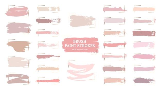 Traçados de pincel pastel. pontos criativos, molduras douradas e amostras de paleta rosa. amostras de blush de maquiagem da moda. coleção de pinturas de grunge rosa linda. textura pastel de ilustração, pincel de aquarela