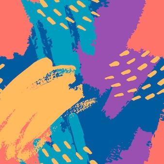 Traçados de pincel pintados à mão em azul, amarelo, azul, coral. padrão abstrato de vetor sem costura, fundo de pinceladas e manchas de textura, pontos para design de tecido, diferentes designs de web