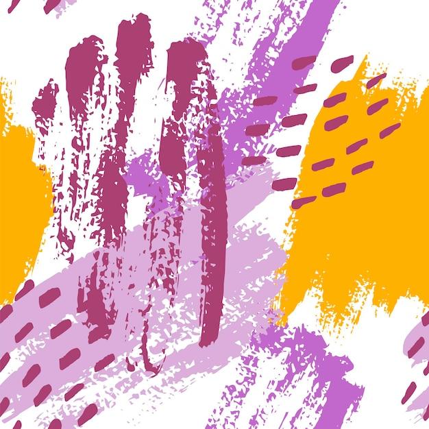 Traçados de pincel pintados à mão em mostarda, roxo, lilás e branco. padrão abstrato de vetor sem costura, fundo de pinceladas e manchas de textura, pontos para design de tecido, diferentes designs de web