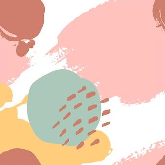 Traçados de pincel pintados à mão em rosa, mostarda, menta, marrom, branco. padrão abstrato de vetor sem costura, fundo de pinceladas e manchas de textura, pontos para design de tecido, diferentes designs de web