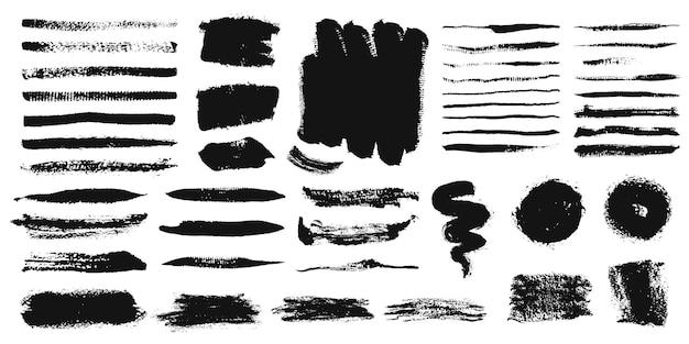 Traçados de pincel pintura grunge linhas de tinta textura de giz conjunto de quadros de pincel preto
