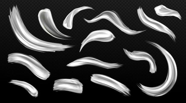 Traçados de pincel prateado, manchas de tinta de metal, manchas de textura metálica de cor cinza ou branca