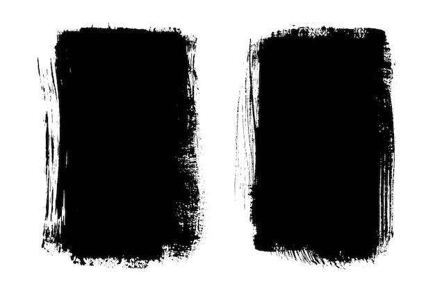 Traçados de pincel preto abstrato grunge isolados