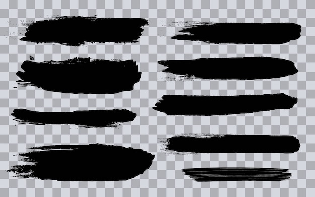Traçados de pincel preto grunge áspero.
