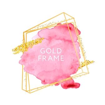 Traçados de pincel rosa e moldura de ouro.