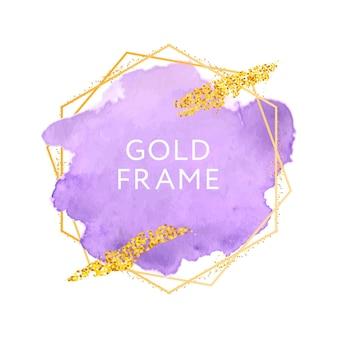 Traçados de pincel violeta e moldura de ouro.