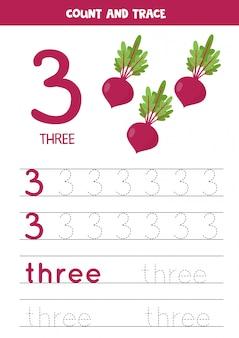 Traçando a palavra três e o número 3. imagens de beterraba em cartum.