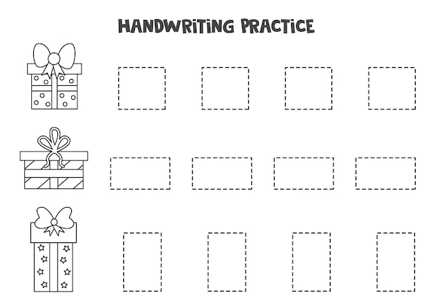 Traçando contornos de caixas de presentes em preto e branco. prática de caligrafia para crianças.