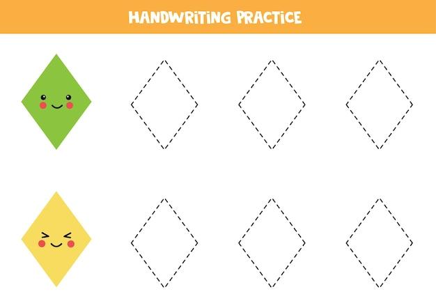 Traçando contornos de losango. prática de caligrafia para crianças.